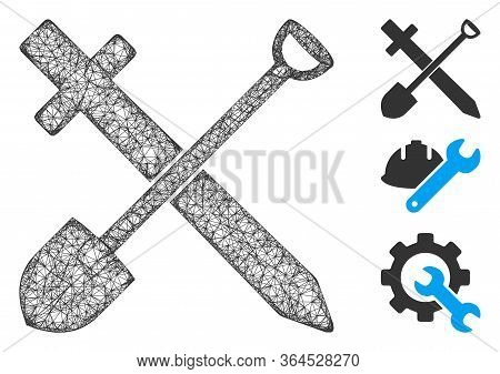 Mesh Sword And Shovel Polygonal Web Icon Vector Illustration. Model Is Created From Sword And Shovel