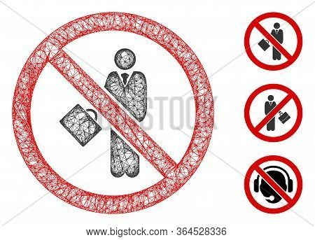Mesh No Businessman Polygonal Web 2d Vector Illustration. Carcass Model Is Based On No Businessman F