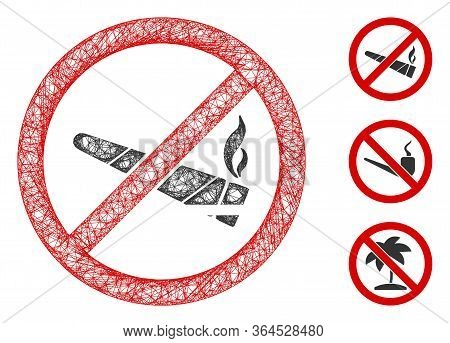 Mesh No Smoking Cannabis Polygonal Web Icon Vector Illustration. Abstraction Is Created From No Smok