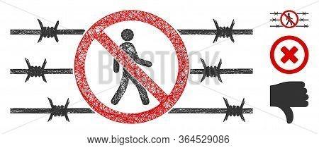 Mesh No Trespassing Fence Polygonal Web 2d Vector Illustration. Carcass Model Is Based On No Trespas