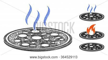 Mesh Fresh Pizza Polygonal Web Icon Vector Illustration. Abstraction Is Based On Fresh Pizza Flat Ic