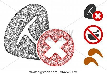 Mesh Stop Meat Eating Polygonal Web Symbol Vector Illustration. Carcass Model Is Based On Stop Meat
