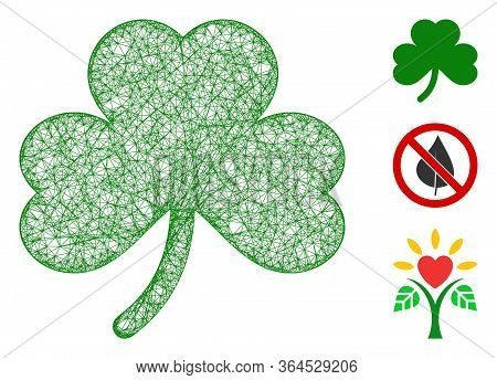 Mesh Clover Leaf Polygonal Web Icon Vector Illustration. Carcass Model Is Based On Clover Leaf Flat