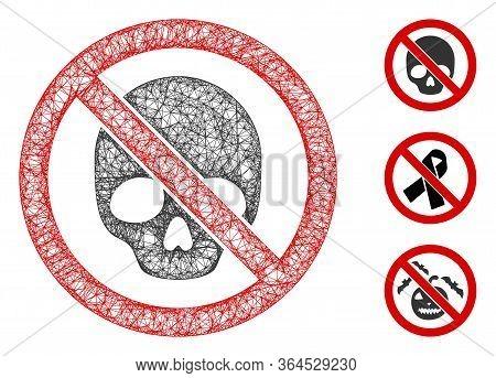Mesh No Dead Skull Polygonal Web 2d Vector Illustration. Model Is Based On No Dead Skull Flat Icon.
