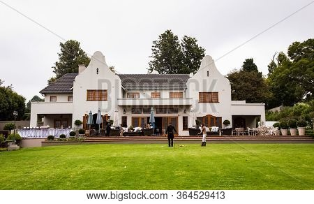 Johannesburg, South Africa - April 9, 2015: Upmarket Wealthy Suburban Mansion House With Landscaped