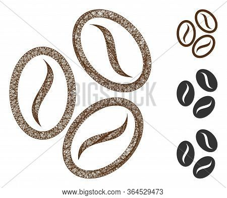 Mesh Cacao Beans Polygonal Web 2d Vector Illustration. Carcass Model Is Based On Cacao Beans Flat Ic