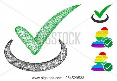 Mesh True Polygonal Web Icon Vector Illustration. Carcass Model Is Based On True Flat Icon. Triangle