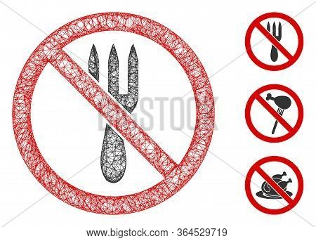 Mesh No Fork Polygonal Web 2d Vector Illustration. Carcass Model Is Created From No Fork Flat Icon.