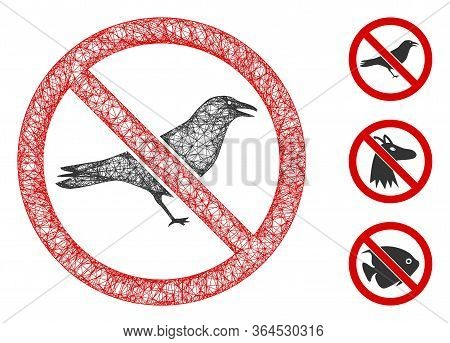 Mesh No Crow Polygonal Web Icon Vector Illustration. Carcass Model Is Based On No Crow Flat Icon. Tr
