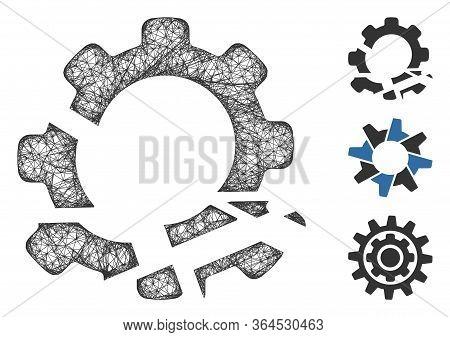 Mesh Gear Destruction Polygonal Web Icon Vector Illustration. Abstraction Is Based On Gear Destructi