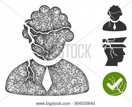 Mesh Corrupted Judge Polygonal Web 2d Vector Illustration. Carcass Model Is Based On Corrupted Judge