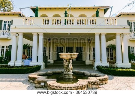 Johannesburg, South Africa - August 15, 2018: Upmarket Wealthy Suburban Mansion House With Landscape