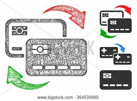 Mesh Banking Card Exchange Polygonal Web 2d Vector Illustration. Model Is Created From Banking Card