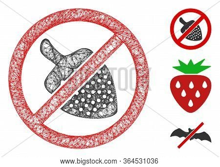 Mesh No Strawberry Polygonal Web 2d Vector Illustration. Carcass Model Is Created From No Strawberry