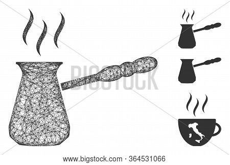 Mesh Turkish Coffee Polygonal Web Icon Vector Illustration. Carcass Model Is Created From Turkish Co