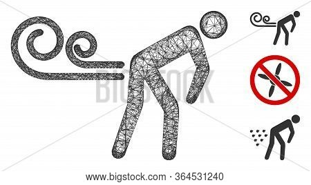 Mesh Farting Wind Polygonal Web Icon Vector Illustration. Carcass Model Is Based On Farting Wind Fla