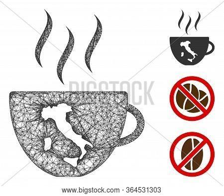 Mesh Italian Coffee Cup Polygonal Web 2d Vector Illustration. Carcass Model Is Based On Italian Coff