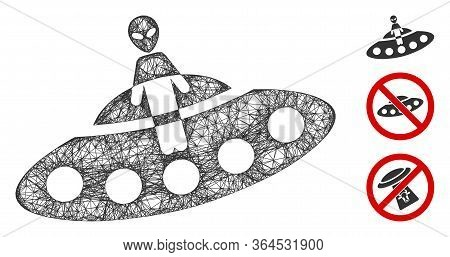 Mesh Aboard Ufo Polygonal Web Icon Vector Illustration. Model Is Created From Aboard Ufo Flat Icon.