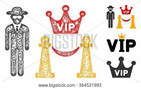 Mesh Vip Access Polygonal Web Icon Vector Illustration. Model Is Based On Vip Access Flat Icon. Tria