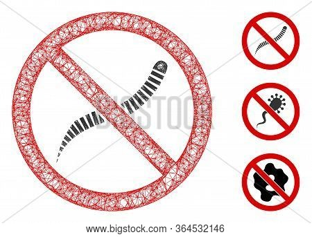 Mesh No Helminth Worms Polygonal Web Icon Vector Illustration. Model Is Based On No Helminth Worms F