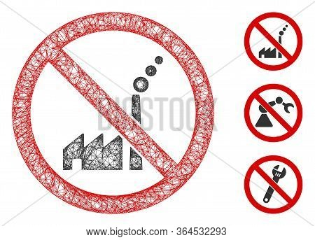 Mesh No Industrial Plant Polygonal Web Icon Vector Illustration. Carcass Model Is Based On No Indust