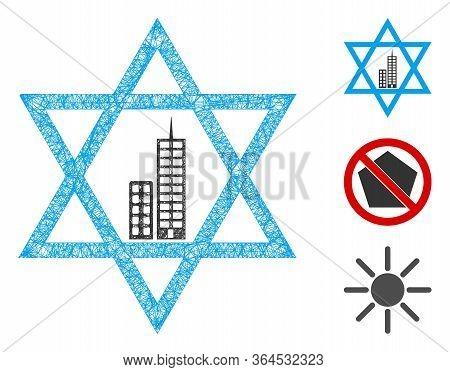 Mesh Jerusalem Star Polygonal Web Icon Vector Illustration. Carcass Model Is Created From Jerusalem