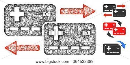 Mesh Medical Cards Exchange Polygonal Web 2d Vector Illustration. Carcass Model Is Based On Medical