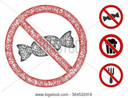 Mesh No Candy Polygonal Web Icon Vector Illustration. Model Is Based On No Candy Flat Icon. Triangle