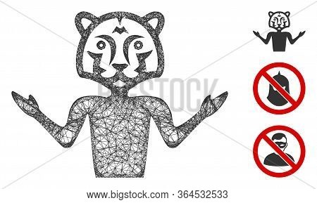 Mesh Masquerade Polygonal Web Icon Vector Illustration. Carcass Model Is Based On Masquerade Flat Ic