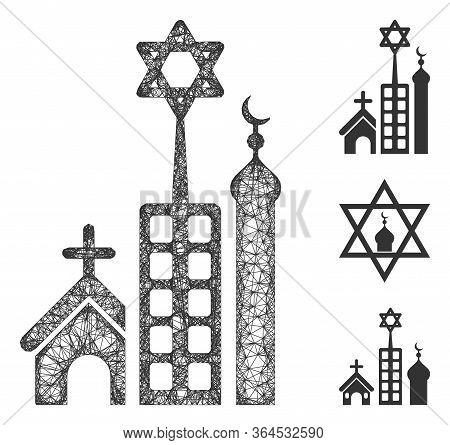 Mesh Jerusalem City Polygonal Web Symbol Vector Illustration. Model Is Based On Jerusalem City Flat