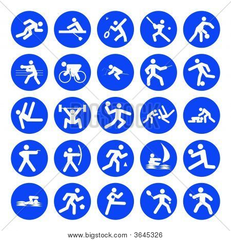 blue logos of sports games on white background poster