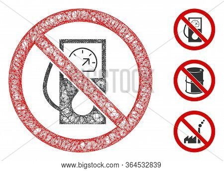 Mesh No Gas Station Polygonal Web Icon Vector Illustration. Model Is Created From No Gas Station Fla