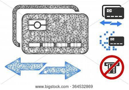 Mesh Credit Card Exchange Polygonal Web Symbol Vector Illustration. Carcass Model Is Based On Credit
