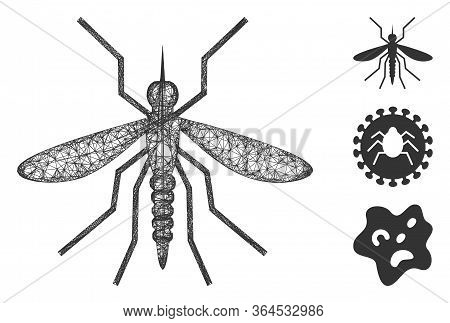 Mesh Mosquito Polygonal Web Icon Vector Illustration. Abstraction Is Based On Mosquito Flat Icon. Tr