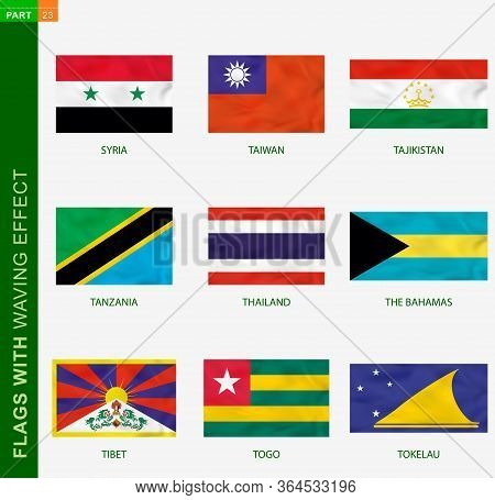 Set Of Flag With Waving Effect, National Flag With Texture. Vector Flag Of Syria, Taiwan, Tajikistan