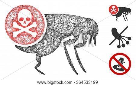 Mesh Flea Pesticide Polygonal Web Symbol Vector Illustration. Carcass Model Is Based On Flea Pestici
