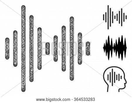 Mesh Audio Signal Polygonal Web 2d Vector Illustration. Carcass Model Is Based On Audio Signal Flat