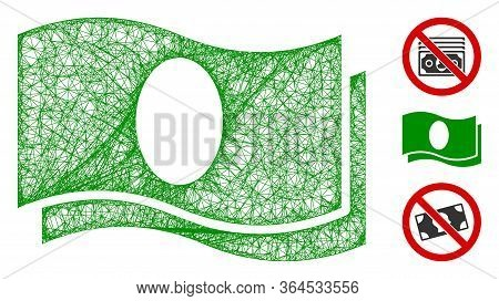 Mesh Banknotes Polygonal Web 2d Vector Illustration. Model Is Based On Banknotes Flat Icon. Triangle