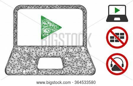 Mesh Webcast Laptop Polygonal Web Icon Vector Illustration. Abstraction Is Based On Webcast Laptop F