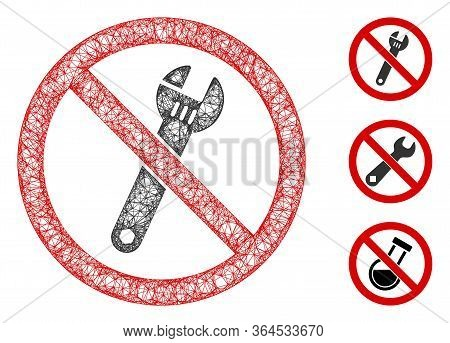 Mesh No Spanner Polygonal Web Icon Vector Illustration. Model Is Based On No Spanner Flat Icon. Tria