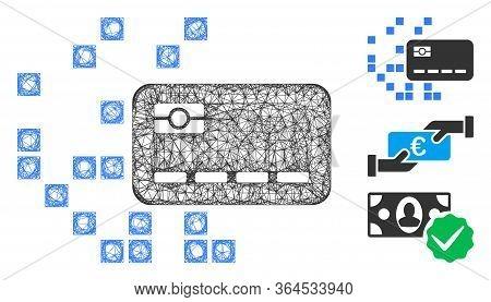 Mesh Digital Credit Card Polygonal Web Icon Vector Illustration. Model Is Based On Digital Credit Ca