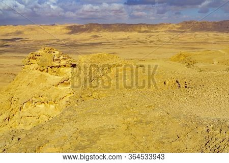 Landscape Of Makhtesh (crater) Ramon (from Mount Ardon), In The Negev Desert, Southern Israel. It Is