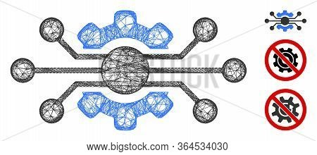 Mesh Electronic Cog Polygonal Web Icon Vector Illustration. Abstraction Is Created From Electronic C