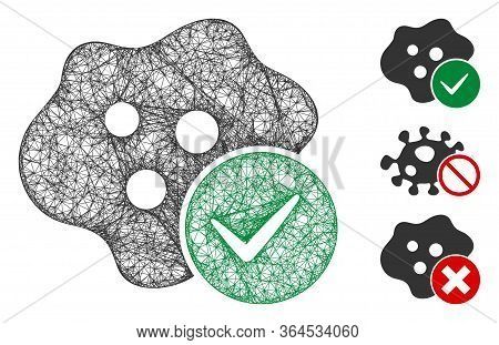 Mesh Infected Polygonal Web 2d Vector Illustration. Carcass Model Is Based On Infected Flat Icon. Tr