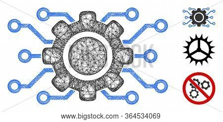 Mesh Electronic Gearwheel Polygonal Web Icon Vector Illustration. Carcass Model Is Created From Elec