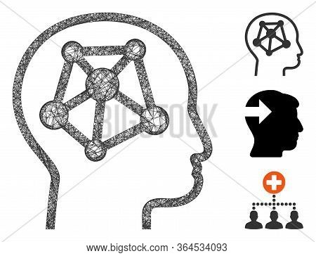 Mesh Human Memory Links Polygonal Web Icon Vector Illustration. Model Is Created From Human Memory L