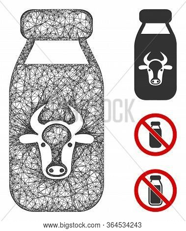 Mesh Cow Milk Polygonal Web Symbol Vector Illustration. Model Is Based On Cow Milk Flat Icon. Triang
