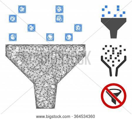 Mesh Data Filter Polygonal Web Icon Vector Illustration. Abstraction Is Created From Data Filter Fla