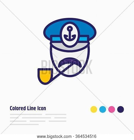Illustration Of Captain Icon Colored Line. Beautiful Sea Element Also Can Be Used As Seaman Icon Ele