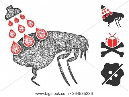 Mesh Get Rid Of Fleas Polygonal Web 2d Vector Illustration. Carcass Model Is Based On Get Rid Of Fle
